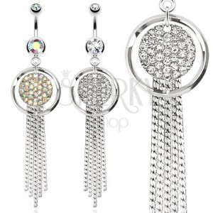 Ocelový piercing do bříška, obrys kruhu a kruh vykládaný kamínky, řetízky