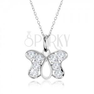 Stříbrný náhrdelník 925, přívěsek obrys motýla vykládaný zirkony