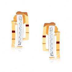 Dvoubarevné náušnice ze zlata 375, půlkruhy, svislá linie čirých kamínků GG56.06