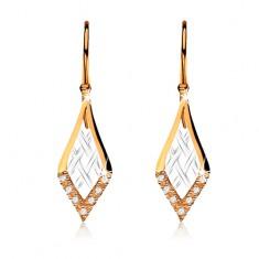 Zlaté dvoubarevné náušnice 375 na háčcích, kosočtverce s mřížkou, zirkony GG57.13