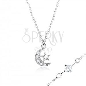 Stříbrný náhrdelník 925 se zirkonem mezi očky, měsíc a hvězdička
