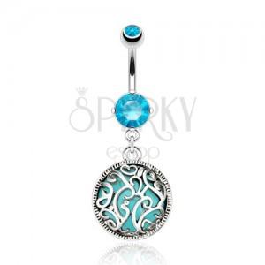 Ocelový piercing do pupíku, tyrkysový kamínek zdobený filigránem, zirkony