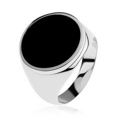 Prsten ze stříbra 925 s černým glazovaným kruhem