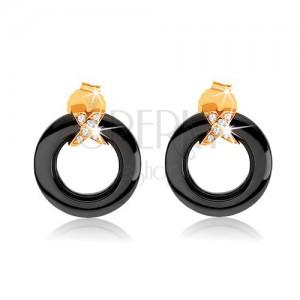 Náušnice ze zlata 375, černý obrys kruhu z keramiky, překřížené pásy se zirkony