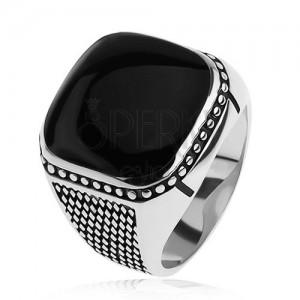 Stříbrný prsten 925, malé kosočtverce, kuličky, černý vypouklý čtverec