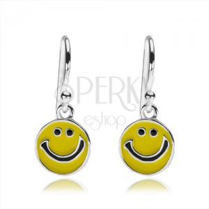 Stříbrné náušnice 925, plochý přívěsek - žlutý usměvavý smajlík