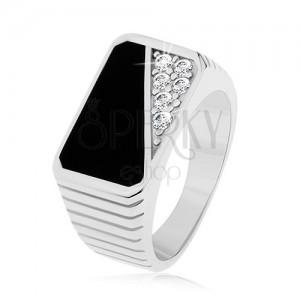 Prsten ze stříbra 925, svislé zářezy, obdélník - černá glazura, čiré zirkony