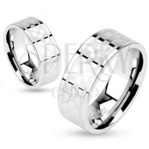 Prsten z chirurgické oceli, vzor matno-lesklé šachovnice, 6 mm