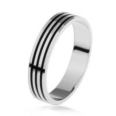 Stříbrný prsten 925, tři tenké černé pásky po obvodu