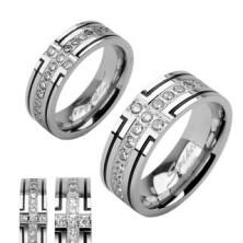 Ocelový snubní prsten se dvěma černými pruhy a jedním zirkonovým
