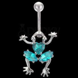 Piercing do břicha lezoucí žába s barevnými zirkony