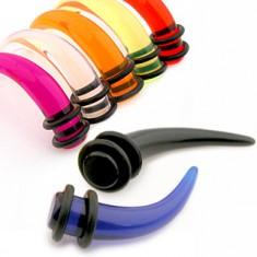 Akrylový taper do ucha - dráp v různých barvách a velikostech, gumičky