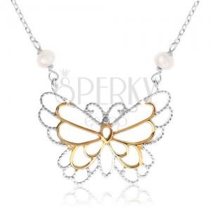 Stříbrný náhrdelník 925, kontura motýlka, vložené perleťové kuličky