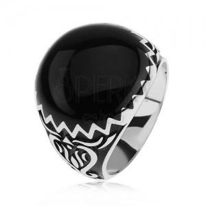 Prsten ze stříbra 925, černé zdobení, cik cak vzor a ornamenty