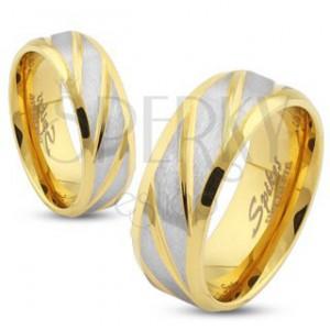 Ocelový prsten zlaté barvy, šikmé pásy ve stříbrném odstínu, 6 mm