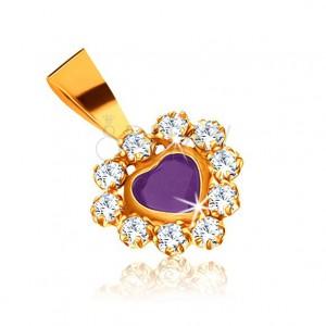 Zlatý přívěsek 375 - srdíčko z fialového ametystu, třpytivý zirkonový lem