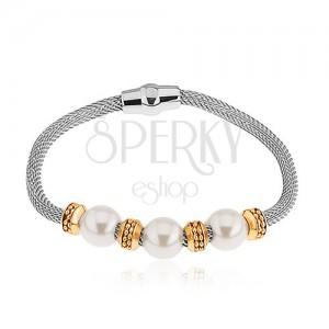 Ocelový náramek, perleťové korálky, kolečka ve zlaté barvě, síťovaný řetízek