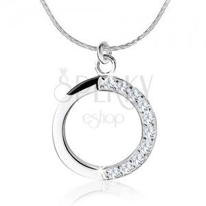 Stříbrný náhrdelník 925, obrys kruhu, čiré zirkony na jedné polovině