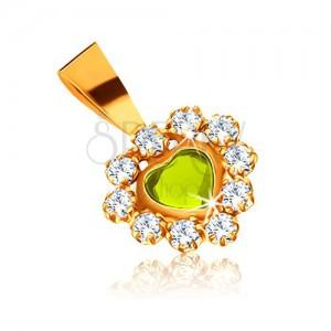 Lesklý přívěsek ze žlutého zlata 375 - světle zelené srdce a blyštivé čiré zirkony