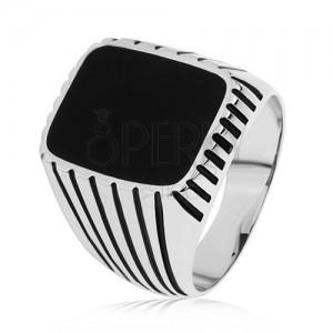 Prsten ze stříbra 925, černé pásky na ramenech, obdélník s černou glazurou