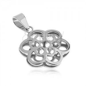 Oboustranný přívěsek z oceli, kontura květů, stříbrná barva