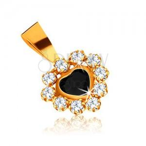 Přívěsek ve žlutém 9K zlatě - safírové srdce a zirkonová obruba čiré barvy