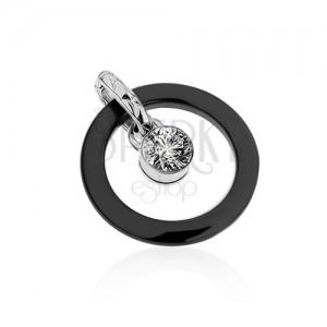 Černý keramický dvojpřívěsek, kontura kruhu, kulatý čirý zirkon