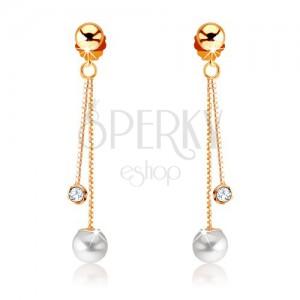 Náušnice ze žlutého 9K zlata - dva řetízky, perla a čirý kamínek