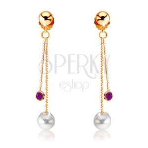 Zlaté náušnice 375 - fialový ametyst a bílá perla na řetízcích