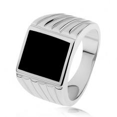 Stříbrný prsten 925, ramena se zářezy, černý glazovaný obdélník