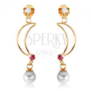 Náušnice ve žlutém 9K zlatě - lesklý obrys půlměsíce s rubínem, bílá perla