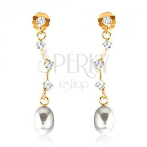 Zlaté náušnice 375 - čiré zirkony na asymetrické tyčince, oválná bílá perla