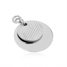 Přívěsek z chirurgické oceli, stříbrná barva, dva lesklé kruhy, zářezy