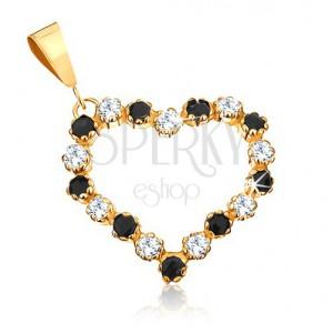 Přívěsek ze žlutého 9K zlata - obrys srdce s čirými zirkony a černými safíry