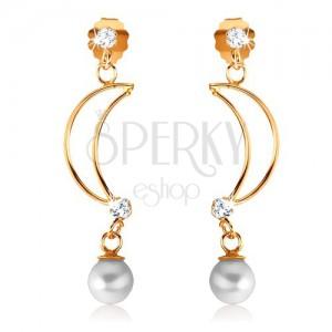 Náušnice ze žlutého 9K zlata - tenká kontura půlměsíce, čiré zirkony, perla