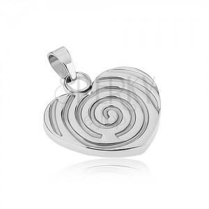 Ocelový přívěsek stříbrné barvy, souměrné srdce s gravírovanou spirálou