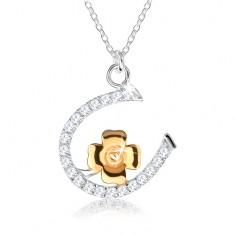 Stříbrný náhrdelník 925 - řetízek s podkůvkou a čtyřlístkem pro štěstí SP44.01