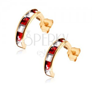 Zlaté náušnice 375 - půlkruhy zdobené červenými rubíny a čirými zirkony