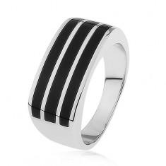 Lesklý stříbrný prsten 925, tři vodorovné pásy s černou glazurou