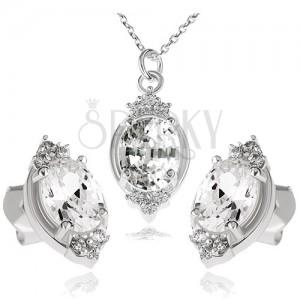 Stříbrný set 925, náhrdelník a náušnice, čirý zirkonový ovál a lístky