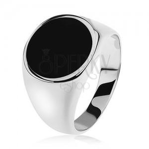 Prsten ze stříbra 925, zrcadlově lesklá ramena, černý glazovaný kruh