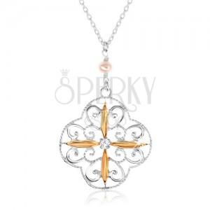 Náhrdelník ze stříbra 925, květ s ornamenty, ovály zlaté barvy, zirkon