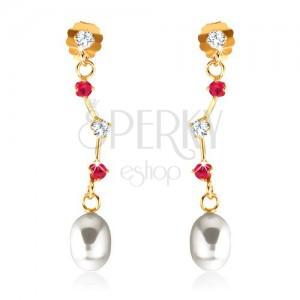 Náušnice ve žlutém 9K zlatě - rubíny a zirkon na asymetrické tyčince, oválná perla
