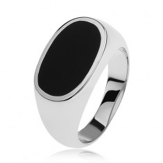Stříbrný prsten 925, ovál s černou glazurou, lesklá a rozšířená ramena
