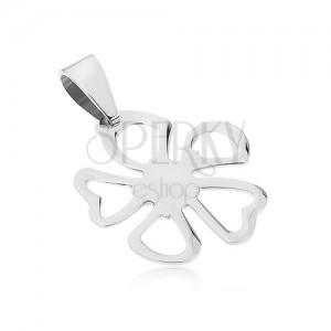 Ocelový přívěsek stříbrné barvy, květ s obrysy nesouměrných okvětních lístků