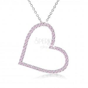 Náhrdelník ze stříbra 925, kontura symetrického srdce z růžových zirkonů