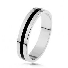 Stříbrný prsten 925 - glazovaný černý pás, hladký a lesklý povrch