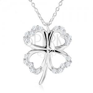 Stříbrný náhrdelník 925 - obrys čtyřlístku pro štěstí, čiré zirkony