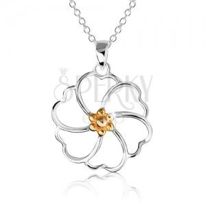 Náhrdelník ze stříbra 925 - kontura květu se středem zlaté barvy