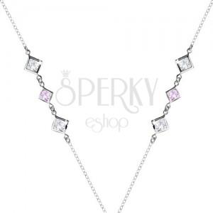 Stříbrný 925 náhrdelník - čiré a fialové zirkonové kosočtverce po stranách